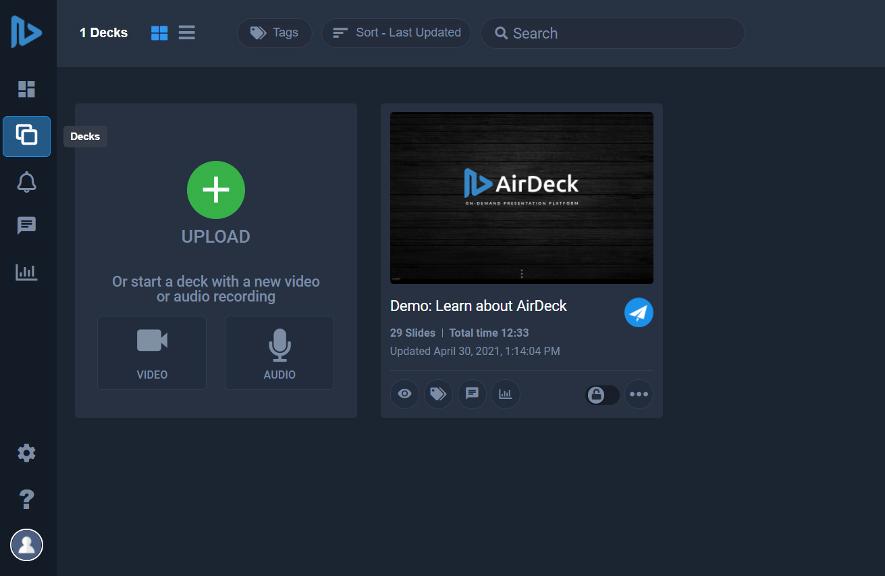 AirDeck Presentation Decks Selection Screen