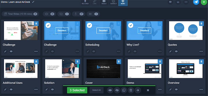 Select Multiple Slides in AirDeck