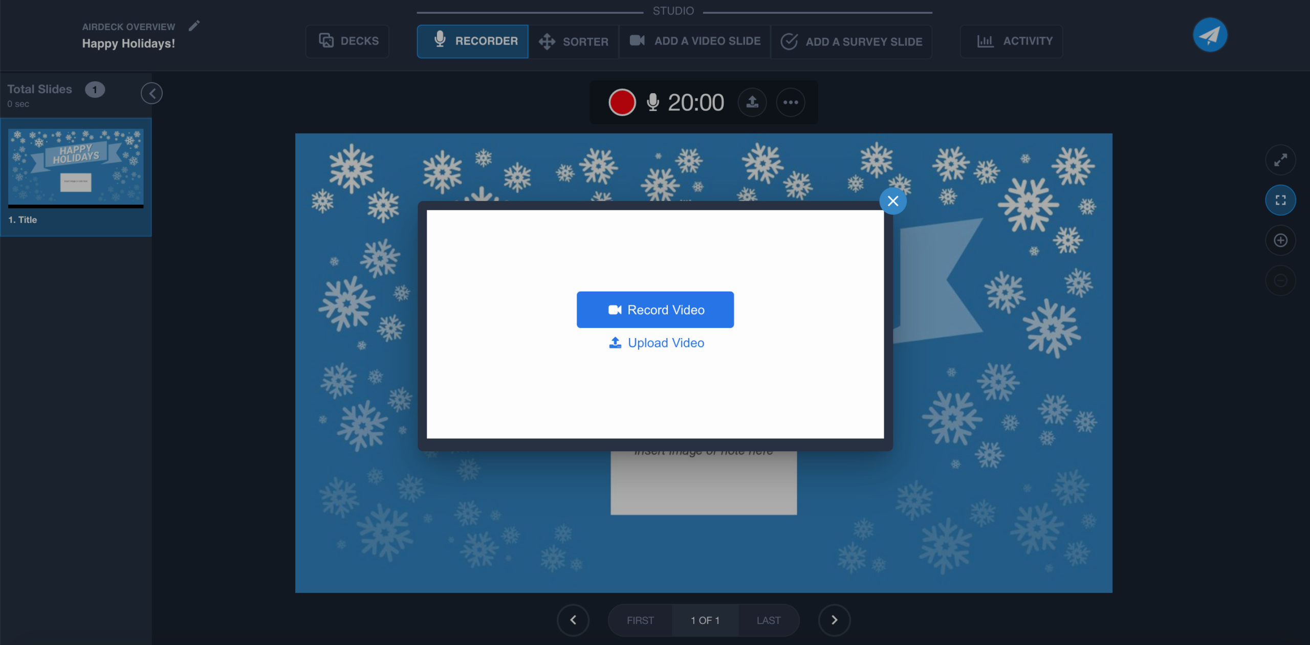 Record Video view on AirDeck user interface