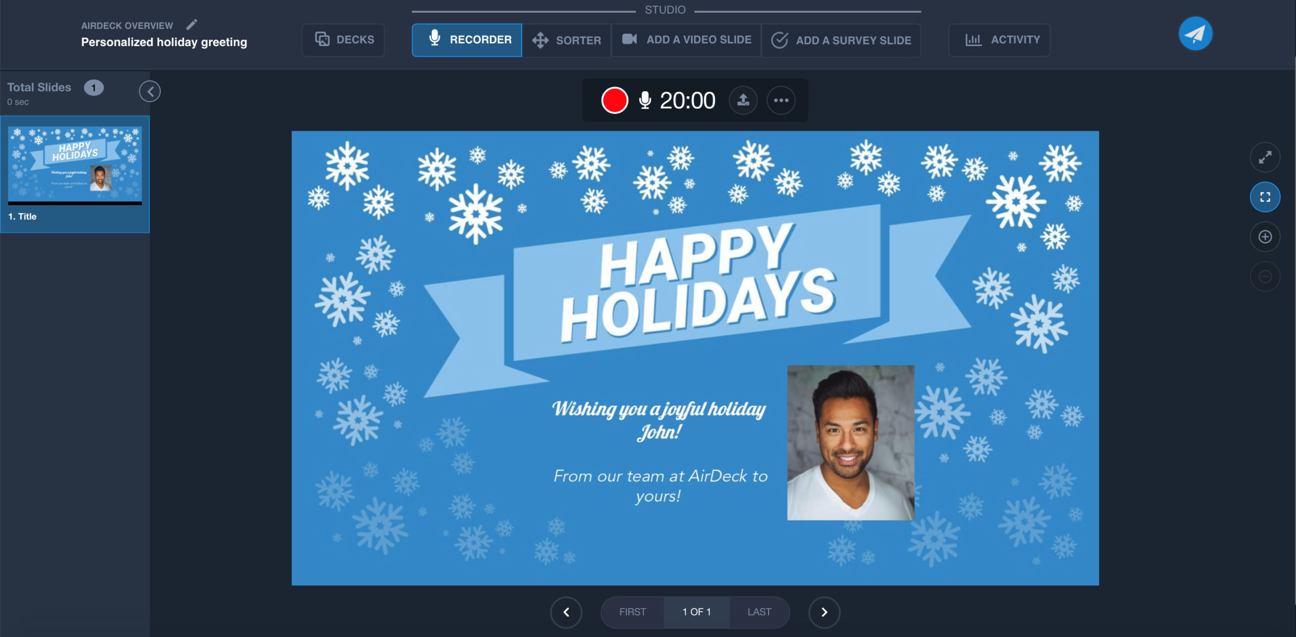Recording a Happy Holidays Slide in AirDeck