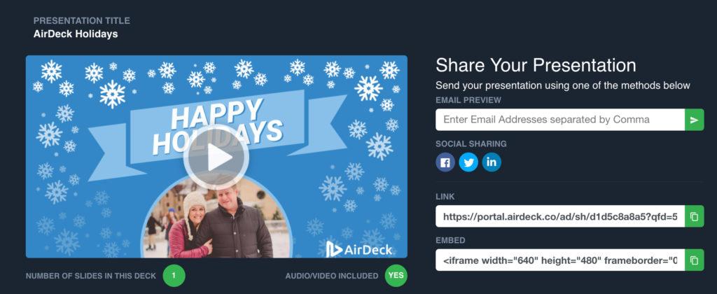 AirDeck Holidays Presentation Share Interface