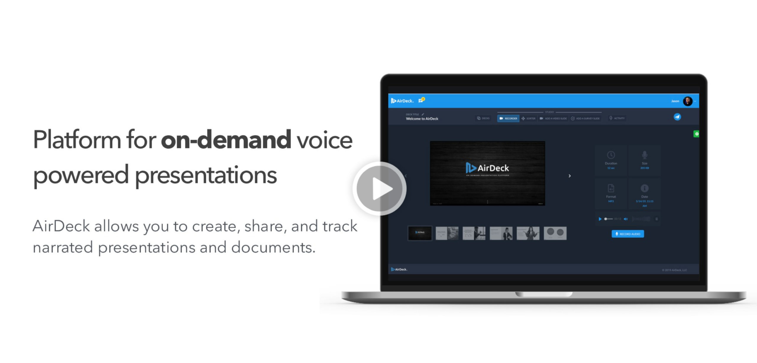 Laptop with AirDeck narrated presentations