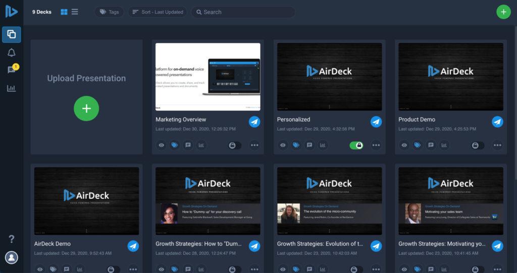 Upload presentation screen on AirDeck user interface