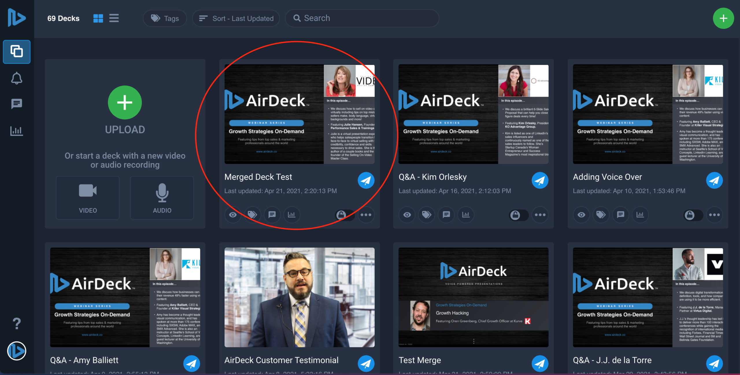 Video recording circled on AirDeck user interface