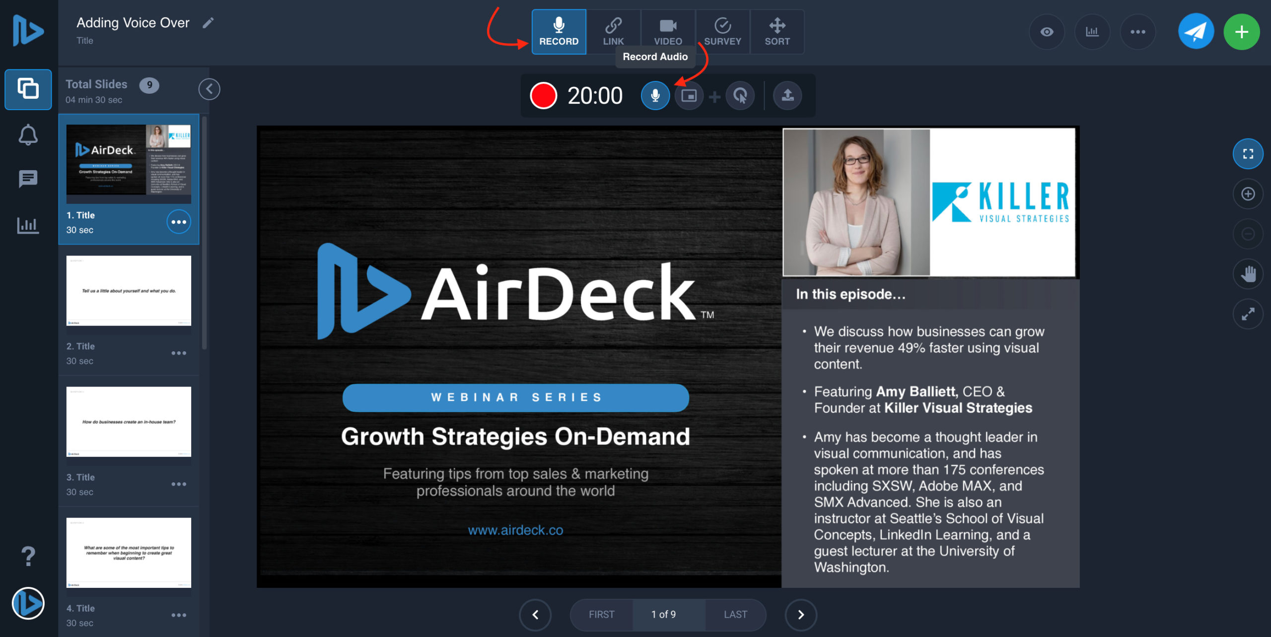 Arrow pointing to record button on AirDeck user interface