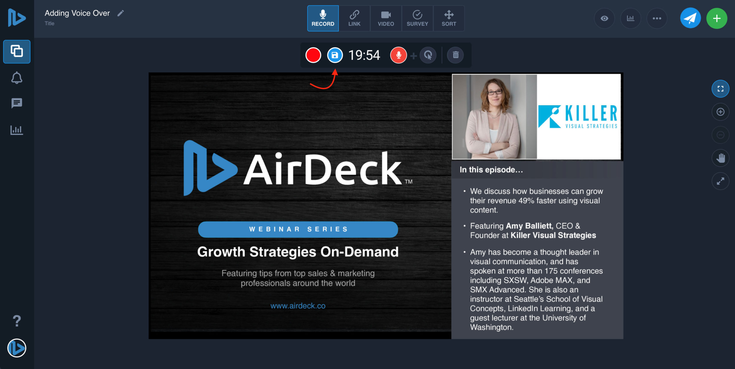 Arrow pointing to save button on AirDeck user interface
