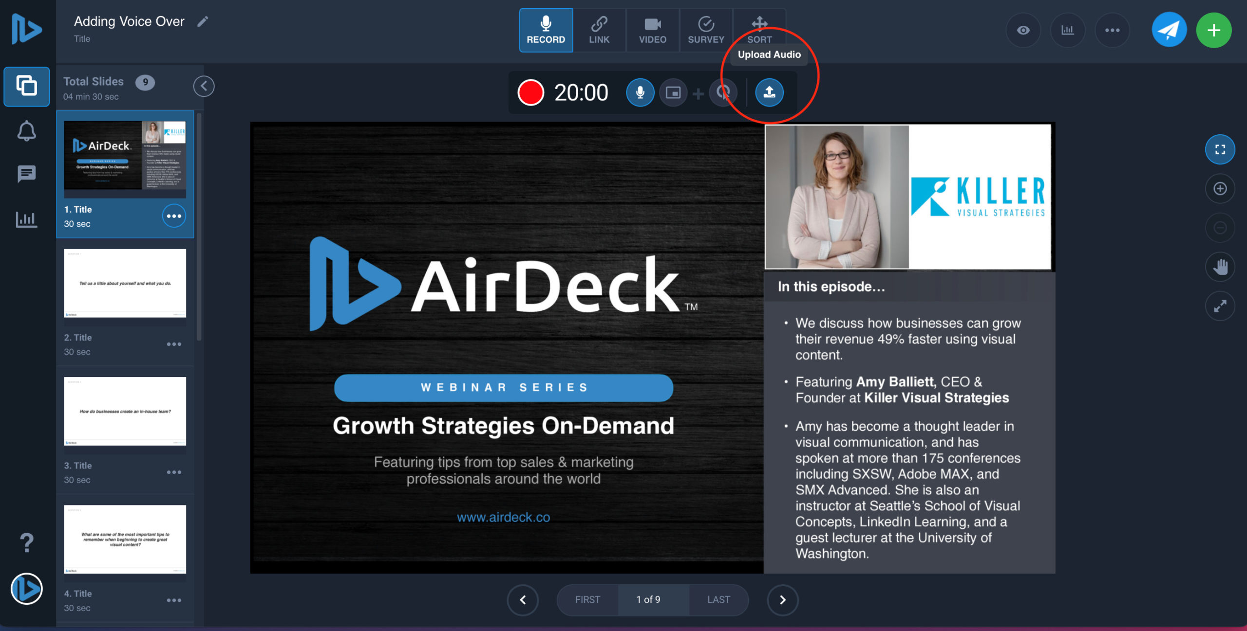Upload button circled on AirDeck user interface