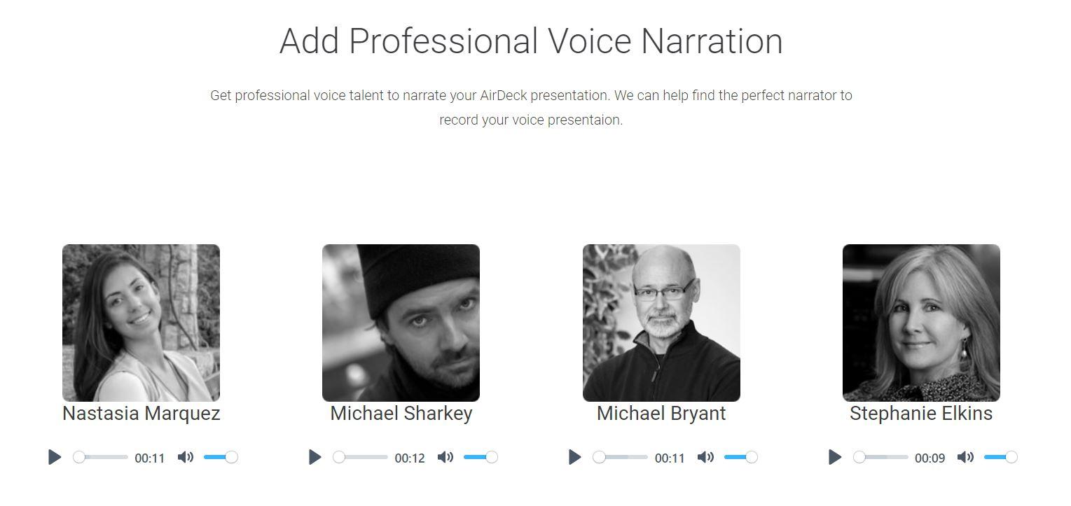 Headshots of four AirDeck voice actors