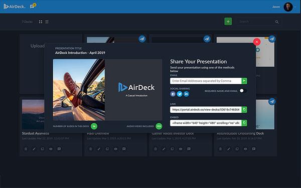 AirDeck Share Presentations User Interface