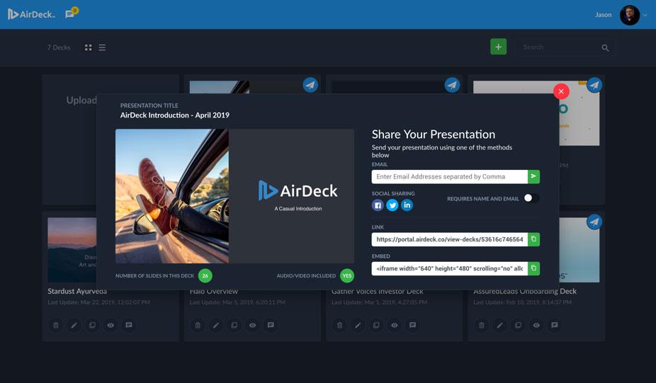 AirDeck Share Presentation User Interface