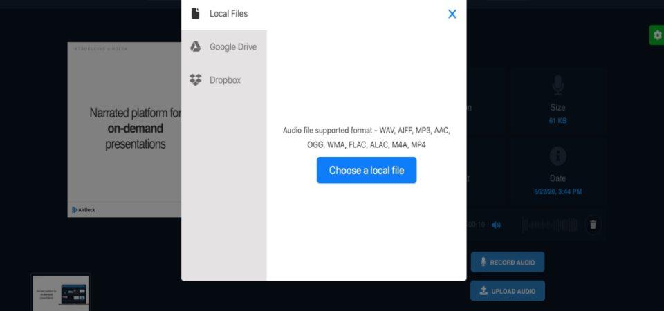 AirDeck upload files box